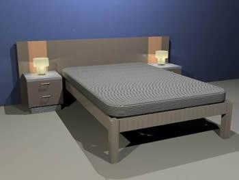 imagen Cama 3d 136 x 200cm con cabecera y mesas de noche, en Dormitorios - Muebles equipamiento