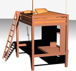 Cama cucheta 3d, en Dormitorios – Muebles equipamiento