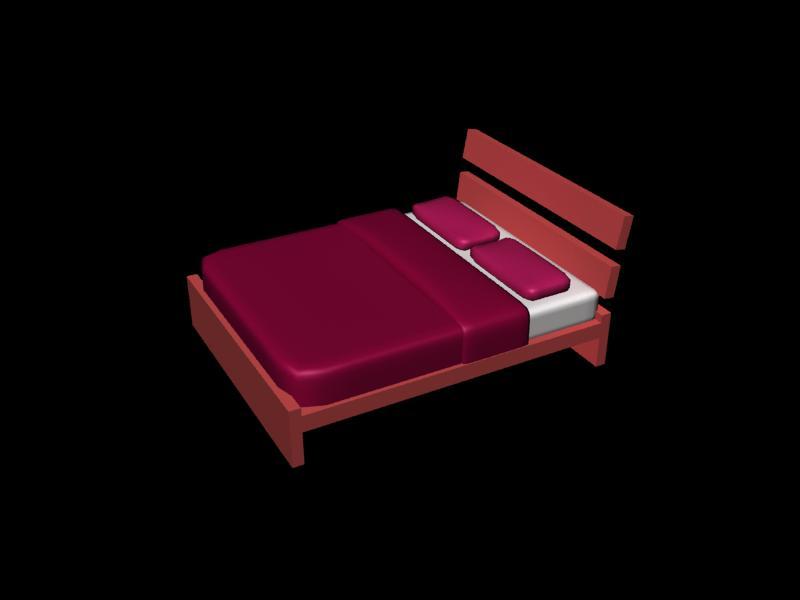 Cama doble 3d, en Dormitorios – Muebles equipamiento