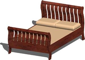 Planos de Cama  doble en 3d, en Dormitorios – Muebles equipamiento