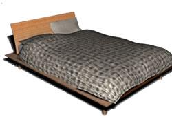 Cama en 3d con materiales aplicados, en Dormitorios – Muebles equipamiento