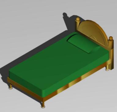 Planos de Cama individual 3d, en Dormitorios – Muebles equipamiento