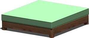 Planos de Cama king size en 3d con materiales, en Dormitorios – Muebles equipamiento