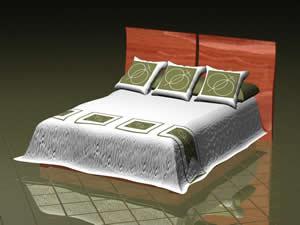 Cama matrimonial 3d – sin materiales asignados, en Dormitorios – Muebles equipamiento