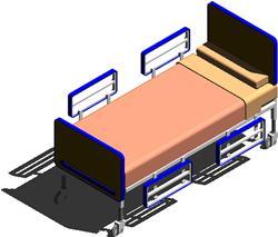 imagen Cama para sala de internacion de hospitales 3d, en Equipamiento - Hospitales