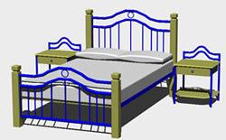 Planos de Cama semidoble en 3d, en Dormitorios – Muebles equipamiento