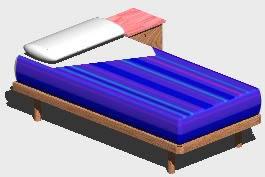 Planos de Cama simple 3d, en Dormitorios – Muebles equipamiento