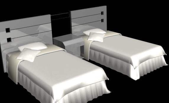 Camas gemelas 3d, en Dormitorios – Muebles equipamiento