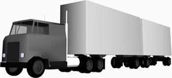 Camion 3d con trailler, en Camiones – Medios de transporte