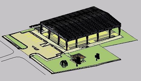 Planos de Cancha bajo techo 3d, en Canchas – Deportes y recreación