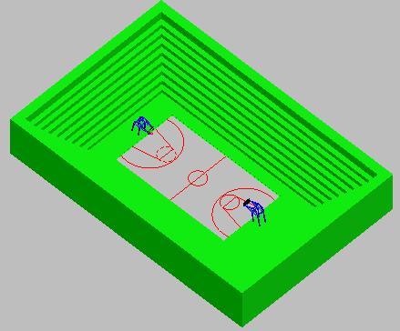 Planos de Cancha de basquetbol 3d, en Canchas – Deportes y recreación