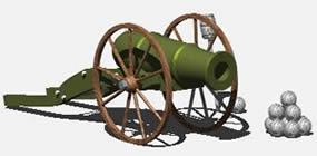 Planos de Cañon  de artilleria 3d, en Objetos varios – Muebles equipamiento