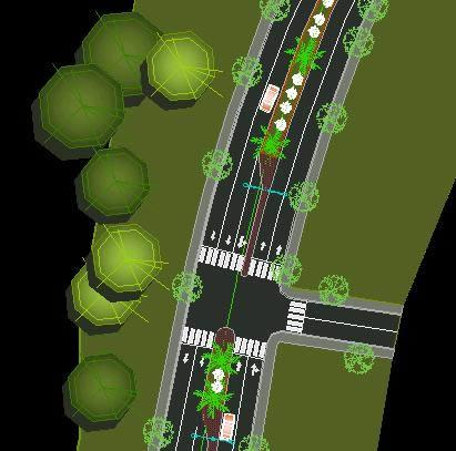 Planos de Carretera arborizada, en Carreteras caminos y calles – Obras viales – diques