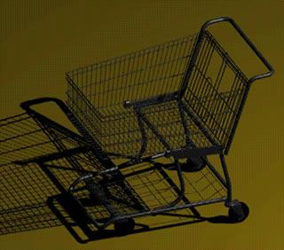 Carro supermercado detallado, en Supermercados y tiendas – Muebles equipamiento
