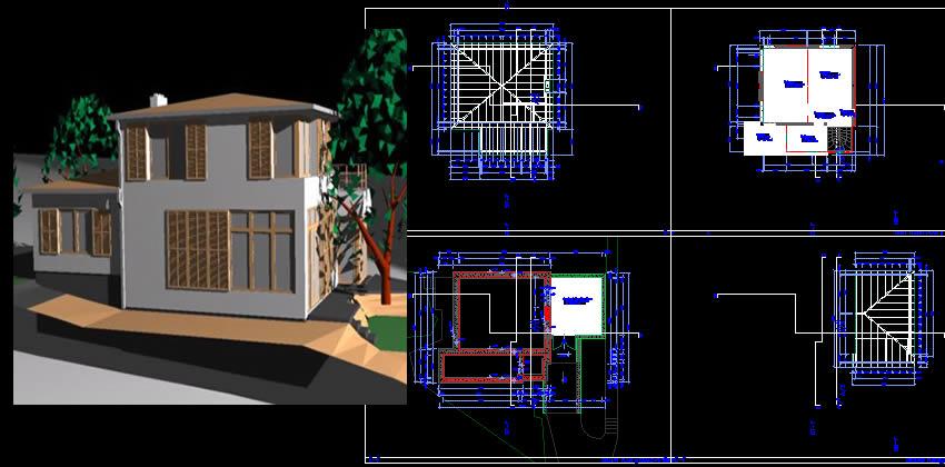 Planos de Casa americana, en Vivienda unifamiliar 3d – Proyectos