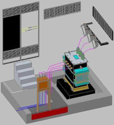 imagen Casa con transformador 3d, en Fuerza motriz - Electricidad iluminación