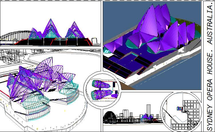 imagen Casa de la opera en sidney 3d, en Obras famosas - Proyectos