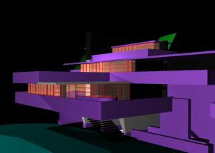 Casa de las cascadas de f.l.wright 3d, en Obras famosas – Proyectos