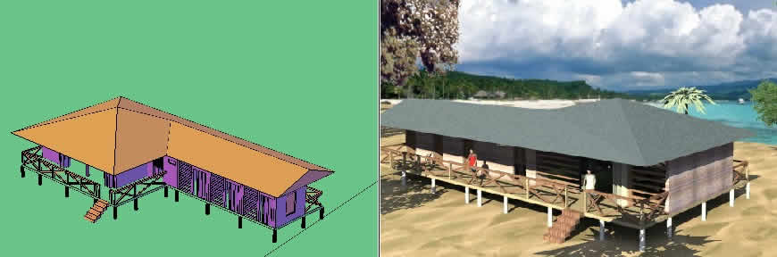 Planos de Casa de playa 3d, en Turismo y recreación – Proyectos