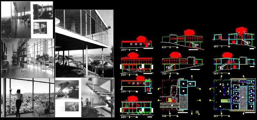Planos de Casa de vidrio, en Obras famosas – Proyectos
