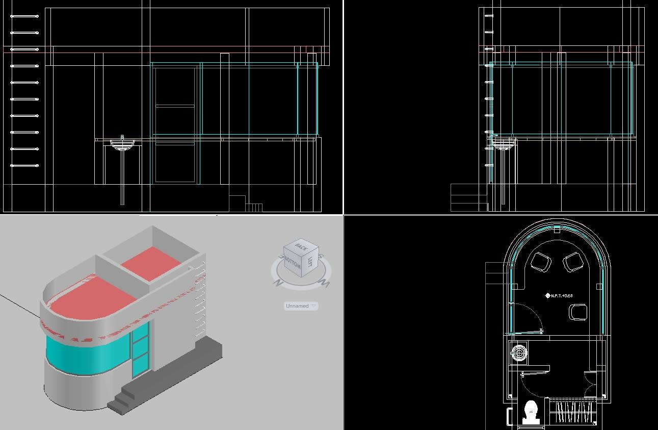 Planos de Caseta de vigilancia en 3d, en Accesos – Proyectos