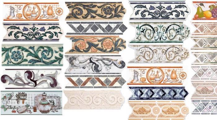 Cenefas; listellos y zócalos ceramicos, en Pisos cerámicos – Texturas