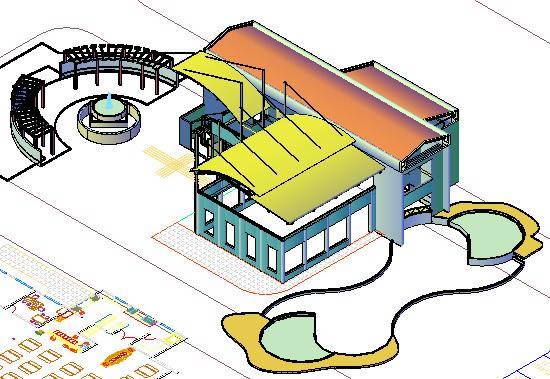 Planos de Club house_3d_2d, en Centros comunitarios – Proyectos
