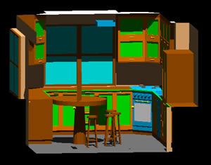 Planos de Cocina 3d amueblada, en Cocinas – Muebles equipamiento