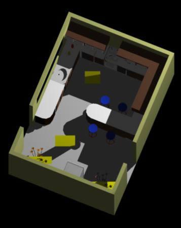 imagen Cocina amoblada en 3d con materieles, en Cocinas - Muebles equipamiento