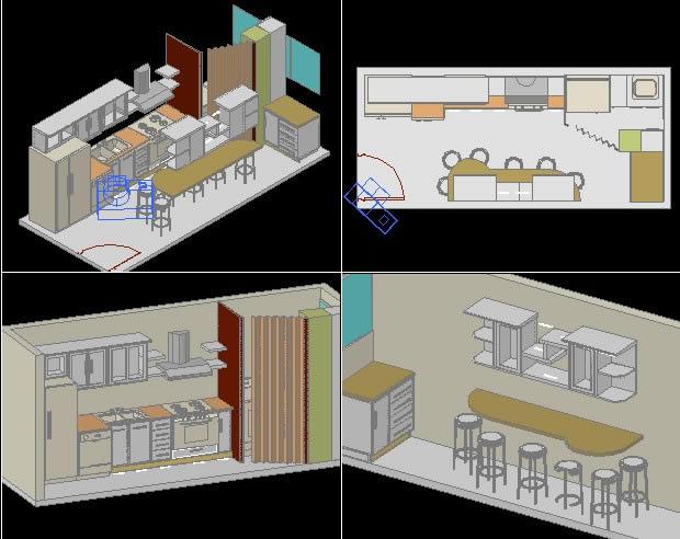 imagen Cocina en 3d, en Cocinas - Sanitarios