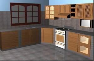 Cocina equipada 3d, en Cocinas – Muebles equipamiento