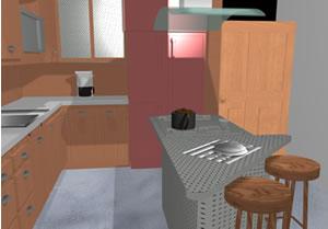 Cocina equipada en 3d, en Cocinas – Muebles equipamiento