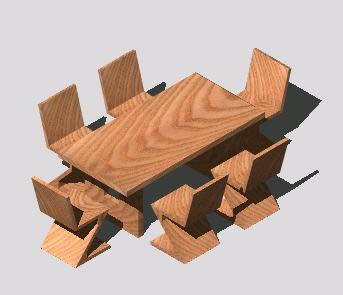 Planos de Comedor 6 sillas, en Mesas y juegos de comedor 3d – Muebles equipamiento