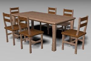 Comedor wood 6 pax, en Mesas y juegos de comedor 3d – Muebles equipamiento