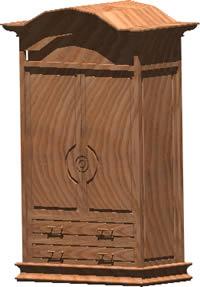 Planos de Comoda – ropero 3d con materiales aplicados, en Dormitorios – Muebles equipamiento