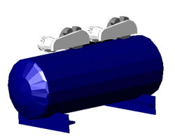 Planos de Compresor de aire con base 3d, en Maquinaria – Obradores