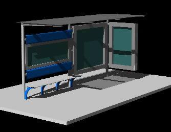 Planos de Cubierta bus 3d, en Transferencia peatón – vehículo paradores – Equipamiento urbano