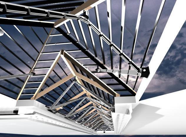 Cubierta vidriada 3d, en Cubiertas – estructuras – Detalles constructivos
