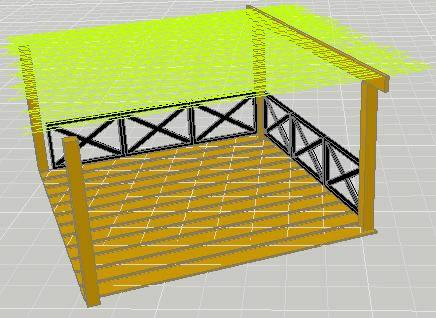 Planos de deck de madera y pergola de ca as 3d en for Choza de jardin de madera techo plano
