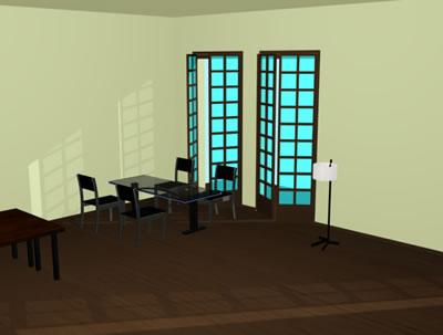 Despacho 3d con materiales aplicados, en Oficinas y laboratorios – Muebles equipamiento