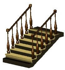 Planos de Detalle escalera de 1 tramo en 3d, en Modelos de escaleras 3d – Escaleras