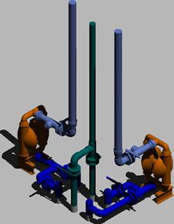 imagen Distribucion de tuberia con bomba wilden en 3d, en Salas de máquinas - Instalaciones