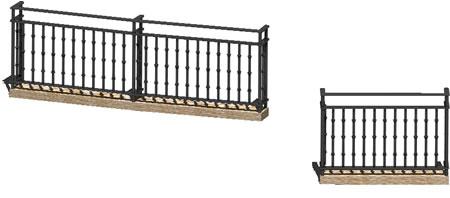 Planos de Dos balcones baranda de forja  3d, en Balcones – Aberturas