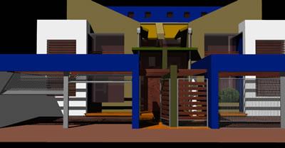 Planos de Duplex apareados  3d, en Vivienda unifamiliar 3d – Proyectos