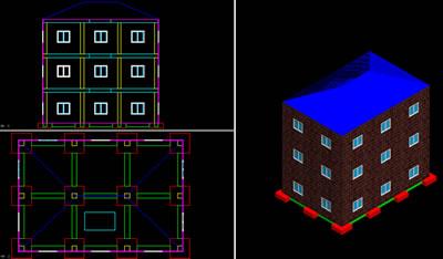 Planos de Edificio de tres plantas -estructura 3d, en Proyectos varios – Proyectos