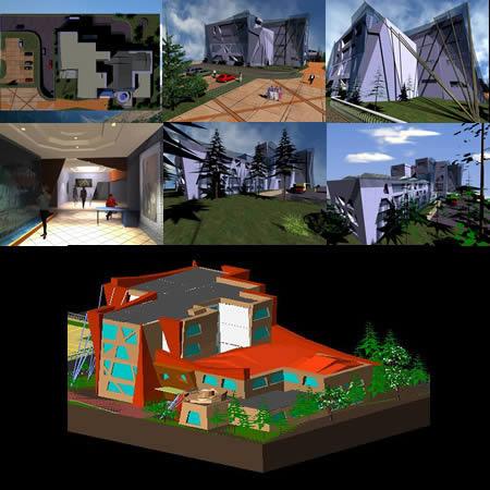 Planos de Edificio deconstructivista 3d, en Talleres – Proyectos