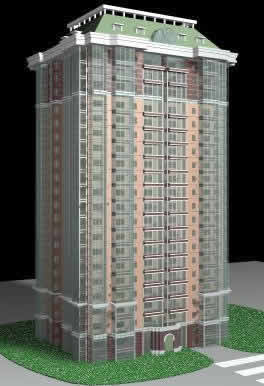 Edificio en 3d max, en Oficinas bancos y administración – Proyectos