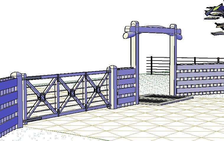 Planos de Entradas de campos 3d, en Construcciones especiales – Granjas e inst. agropecuarias