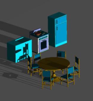 Planos de Equipamiento de cocina en 3d, en Cocinas – Muebles equipamiento