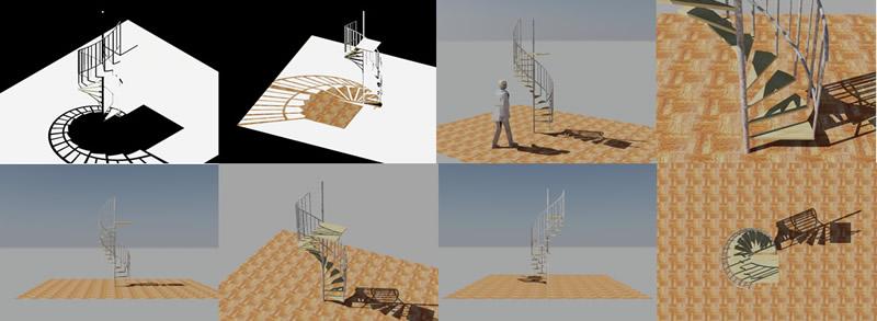 Planos de Escalera caracol en 3d, en Modelos de escaleras 3d – Escaleras